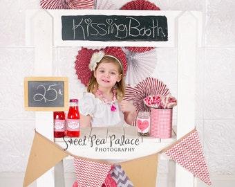 Instant Download Photography Prop DIGITAL BACKDROP for Photographers - Kissing Booth - Digital Background