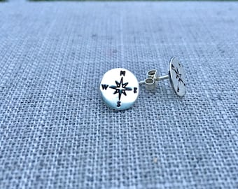 Compass Earring -  silver - graduation gift - travel gift, silver compass