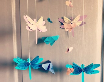Dragonfly and Butterfly origami mobile