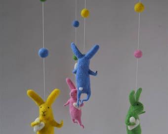 Colored Bunny Mobile, Nursery Mobile, Baby Mobile, Baby Crib Mobile, White Bunny Mobile