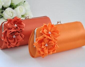 Orange / Burnt Orange - Bridesmaid Clutch / Bridal clutch / Wedding clutch / Custom clutch