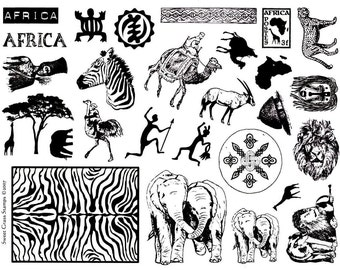 AFRICA  8 1/2 x 11 Rubber Stamp Sheet, lions, elephants, giraffe and tree, camels, zebra, ostrich, tribal, Sweet Grass Stamps #17