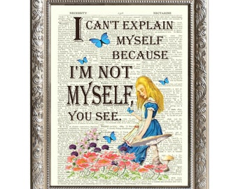 Vintage Art Print Alice in Wonderland Original Book Page Not Myself -D-AIW-08