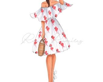 Fashion illustration, fashion print, fashion wall art, girly wall art, girly print, fashion poster, fashion wall decor, girly dorm decor,