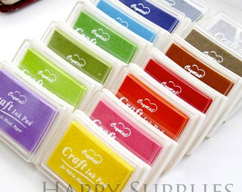 Set of 15 Colors Rubber stamp Ink pad for DIY scrapbook, fabric, wood, paper working (S04)