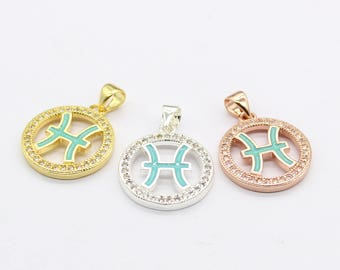 CZ Pisces Charms , Micro Pave Pisces Charms, Pisces Pendant Zodiac Jewelry