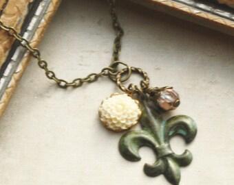 Fleur de Lis Necklace, Paris,  French Jewelry, Verdigris Brass