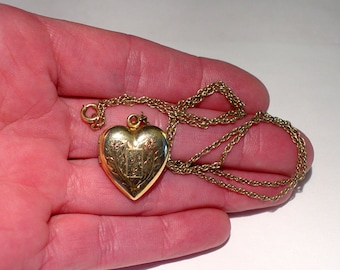 Antique 12K Gold Filled Engraved Heart Photo Locket Chain Necklace with Photographs