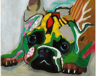 Hand Painted Bulldog Dog Painting On Canvas - Contemporary Impressionist Animal Art