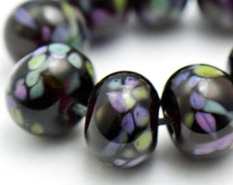Lampwork Beads Frit on Black Glass Set of 9