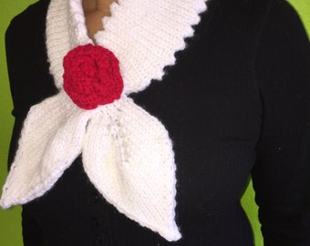 Scarf Tie with Red Rose