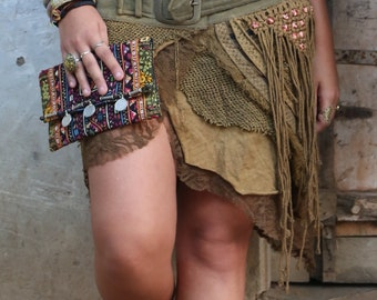 Jungle Skirt with Pockets (Masala) -Festival Clothing Gypsy Festival Goa Bohemian Fairy Hippie Boho Wrap with Belt and Pockets