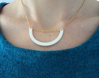 White necklace. Simple smile acrylic necklace. Minimal jewelry Geometric jewellery Statement necklace Gifts under 20. Girlfriend. Xmas gift