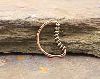 Crescent Moon Rose Gold Septum Ring Rose Gold Daith Piercing Rook Earring Hoop