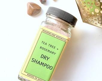 Natural Dry Shampoo for Dark Hair | Vegan Dry Shampoo for Oily Hair | Brown Hair Organic Shampoo Powder w. Tea Tree + Rosemary