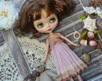 Blythe clothes / Blythe dress for Blythe / vintage pink dress / Pullip dress / romantic dress