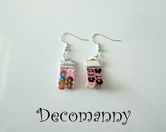 Boucles d'oreilles tissus à sequins roses