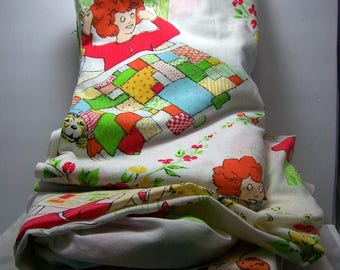 Vintage Little Orphan Annie Twin Size Flat and Fitted Sheet Set 1980's Bonus Broadway Annie 45 record
