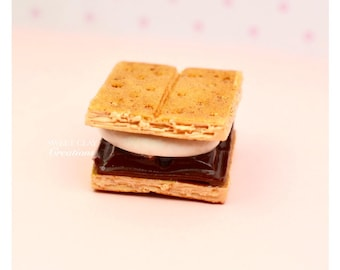 Mini S'more Charm Pendant Necklace Miniature Food Jewelry Handmade Polymer Clay Gift Girl