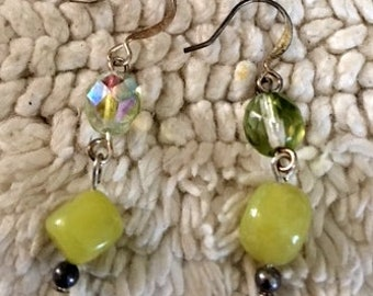 Earrings Lime Green Stone hooks