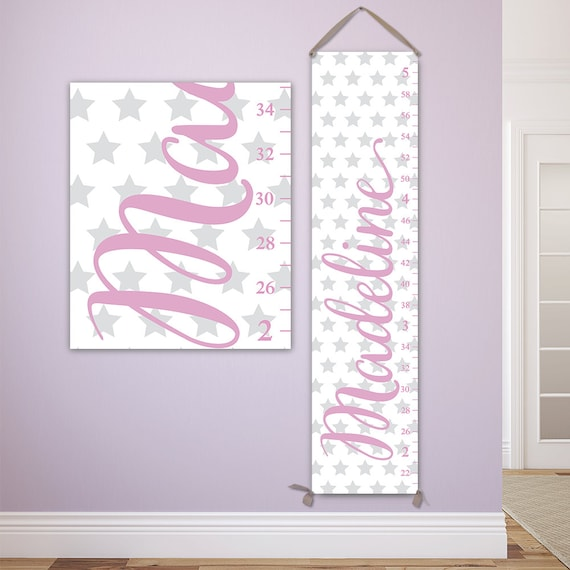 Stars Growth Chart - Personalized Canvas Growth Chart, Perfect for Star Nursery, Girls Growth Chart - GC6335W