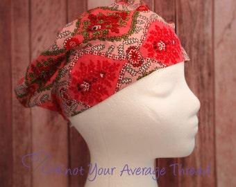 Surgical Scrub hat, Scrub cap, chemo caps, hats, floral scrub hat, flowers