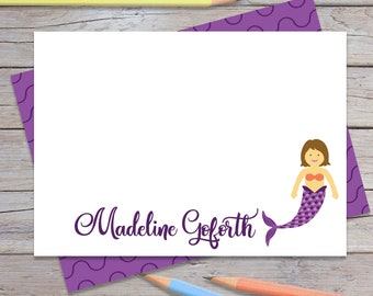 Personalized Mermaid Stationary, Custom Blank Notecards, Girls Thank You Cards, Kids Stationery Set, Toddler Girl Birthday Gift (1708-004FL)