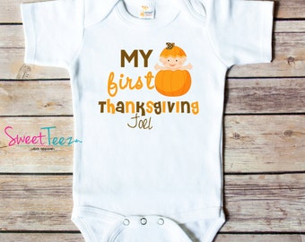 My First Thanksgiving Shirt Turkey Personalized Pumpkin Baby Boy Girl Bodysuit