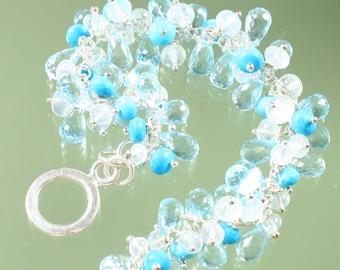 Blue -blue topaz - - turquoise - rainbow moonstone - sterling silver - bracelet