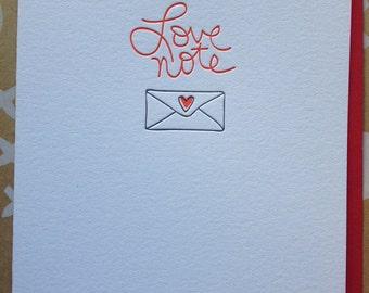 Love Note - Letterpress Card- Love card for boyfriend, girlfriend, husband, wife, friend - DeLuce Design