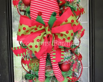 Christmas Wreath, Christmas Swag, Holiday Wreath, Elf Wreath, Door Hanger, Deco Mesh Wreath, Whimsical Wreath, Front door Wreath