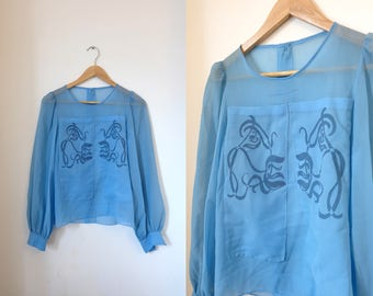 1970s vintage sheer light blue blouse top - Small Size UK 8 EU 36 US 6