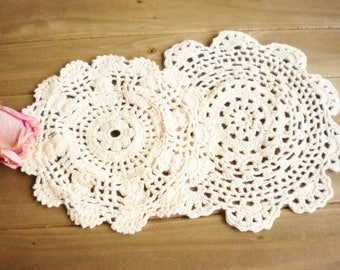 Vintage Lot Crochet Lace Dollies Set Of 2, Wedding Beige Dollies Rustic Wedding Crafters Projects