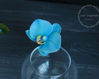 orchid jewellery, flower hair pin, cold porcelain, wedding stuff, bride orchid, orchid hair, bridesmaids hair, blue headband, blue flower