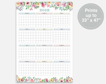 2019, Large Calendar, 2019 Calendar, At a Glance Calendar, Monthly at a Glance, 2019 Year Calendar, Wall Planner 2019, 2019 Digital Calendar