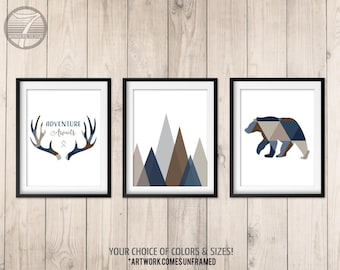 Boys Woodland Nursery Art Prints, Adventure Awaits, Navy Brown Boy Tribal Art Bear Antlers Mountains, Set of (3) 5x7, 8x10 or 11x14 Unframed