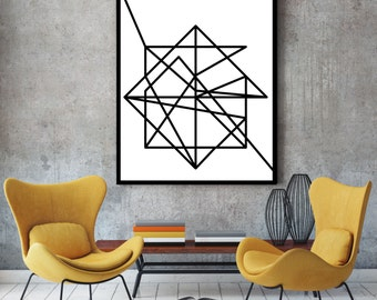 Wire, modern art, minimalist poster, art print, abstract geometric, art poster, minimalist art, abstract art, large wall art, black white