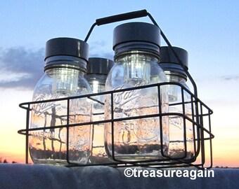 Ball Solar Jar Lights Basket 4 Canning Jars, Antique Milk Bottle Carrier, Dairy Basket & Fruit Jars, Patio Table Mason Jar Solar Lighting