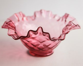 Vintage Quilted Cranberry Pink Fenton Crimped Ruffled Edge Blown Glass Dish Bowl Victorian Style Home Decor