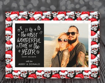 Chirstmas Photo Card - Printable - Santa Skulls - It is the most wonderful time of the year