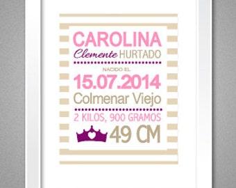 Natalicio. Láminas de nacimiento para niña personalizadas PDF