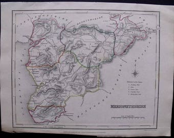 1845 Merionethshire County, Wales, Cardigan Bay. Antique Engraved Map, Outline Hand Colored UK Great Britain