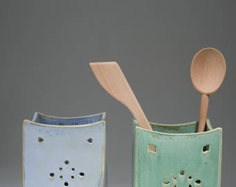 Ceramic Utensil Holder, Kitchen Utensil Holder, Kitchen storage, Green Ceramic Utensil, Blue Ceramic, Kitchen Container, Kitchen decor