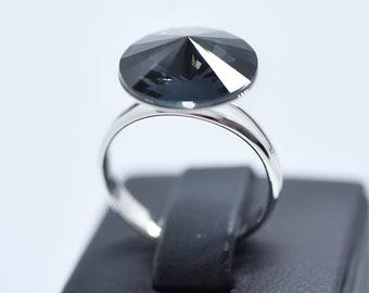 Black Swarovski Crystal Fleur-de-lis Ring, Black Crystal Ring, Silver Night Swarovski Crystal Ring, Black Graphite Crystal Ring