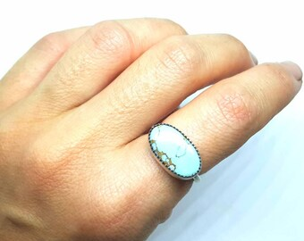 Handmade sterling silver turquoise stacker ring sz 7.5