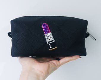 Black make up bag. Sequins patch makeup brush pouch. Brush makeup bag.  Black Quilted make up bag. Vegan leather make up bag. 1660f1454f