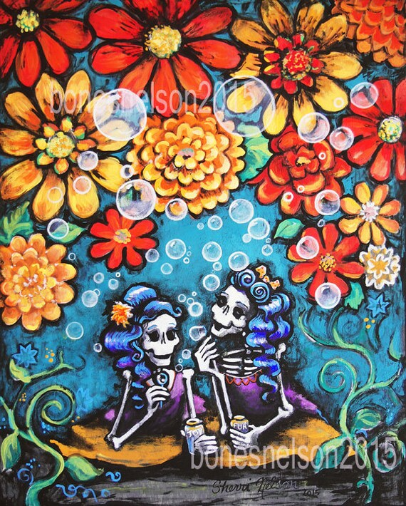 Sister Best Friend Day Of The Dead Art Print Mexican Folk