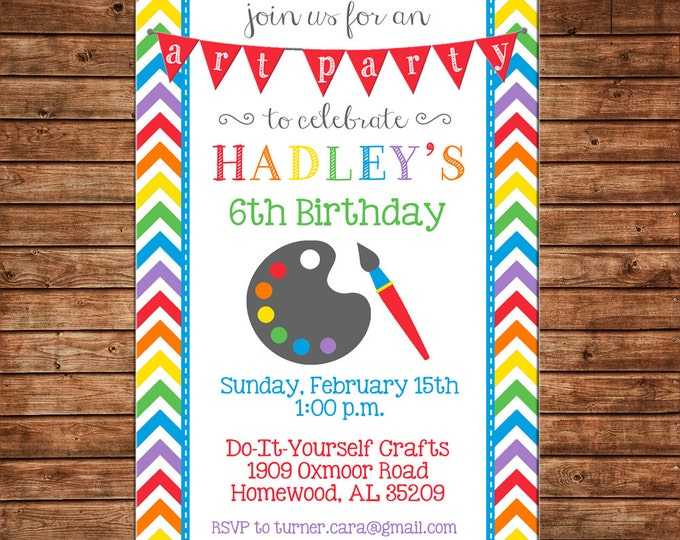 Boy or Girl Painting Paint Art Artist Pottery Birthday Party - Can personalize colors /wording - Printable File or Printed Cards