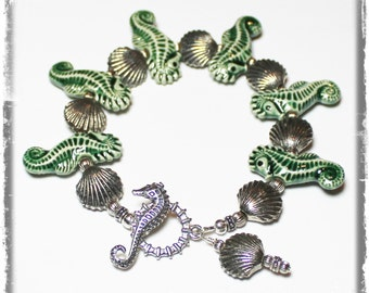 Handmade Jewelry, Bracelet, Beaded, Green, Ceramic, Pewter, Silver, Beach, Seahorse, Sea, Shell, Seashell, Seashells, Ocean, Beach Bracelet