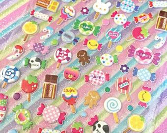 Kawaii sweet treats sticker sheet - kawaii puffy sticker sheet - kawaii candy
